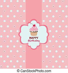 födelsedag, hälsningskort, lycklig