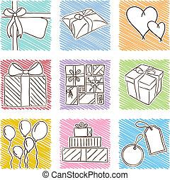 födelsedag, illustration, ikonen