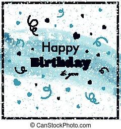 födelsedag, vektor, hälsningskort, lycklig