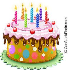 födelsedagstårta, med, brännande, vaxljus