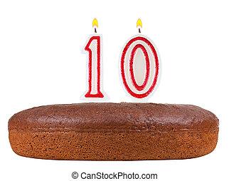 födelsedagstårta, med, vaxljus, numerera 10, isolerat