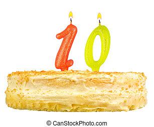 födelsedagstårta, med, vaxljus, numrera, tio, isolerat