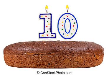 födelsedagstårta, med, vaxljus, numrera, tio