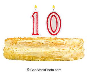 födelsedagstårta, numrera, tio, isolerat, vita
