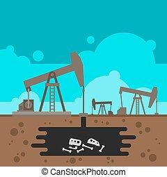 föld alatti, olajkút, fúrás, kövület