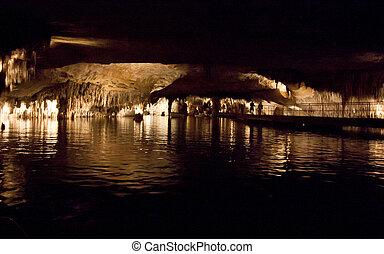 föld alatti, tó, sárkány, majorca, sziget, spain., aláás, incide