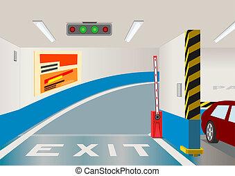 föld alatti, vektor, garage., ábra, várakozás