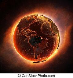 földdel feltölt, égető, után, egy, globális, csapás