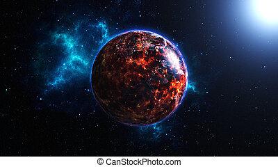 földdel feltölt, égető, után, globális, csapás