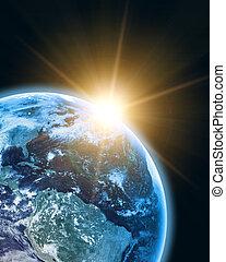 földdel feltölt, alatt, nyit világűr