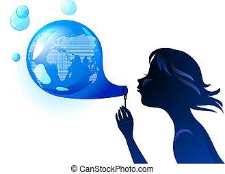 földdel feltölt, buborék