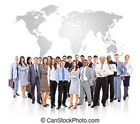 földdel feltölt, businessmen, álló, térkép, elülső