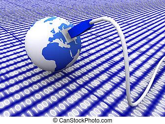 földdel feltölt földgolyó, noha, hálózat, kábel