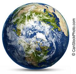 földdel feltölt földgolyó, térkép
