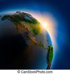 földdel feltölt, felett, külső, napkelte, hely