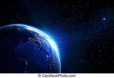 földdel feltölt, kék, csillogó, -, horizont