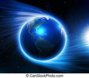földdel feltölt, képben látható, egy, háttér, közül, hely