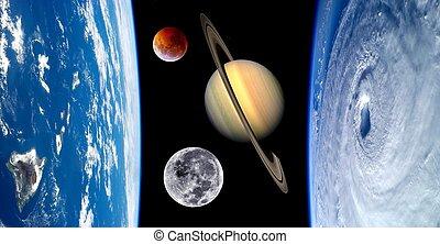 földdel feltölt, képzelet, bolygók, világegyetem