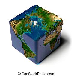 földdel feltölt, kocka alakú, áttetsző, óceán