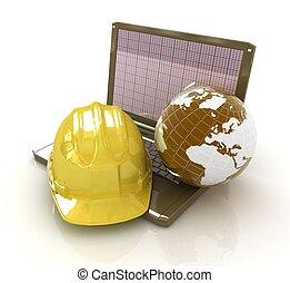 földdel feltölt, laptop, nehéz kalap