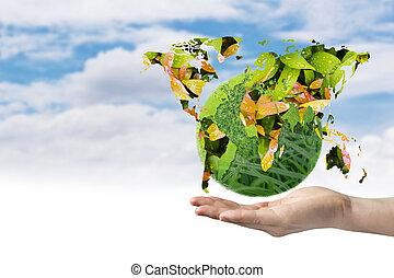 földdel feltölt nap, fogalom, közül, zöld földdel feltölt, képben látható, kéz