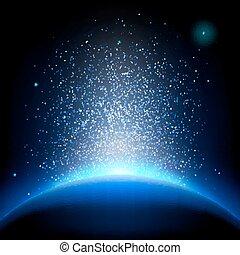földdel feltölt, -, napkelte, alatt, mély, kék, space., eps, 10