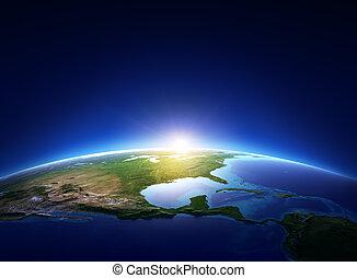földdel feltölt, napkelte, felett, felhőtlen, észak-amerika