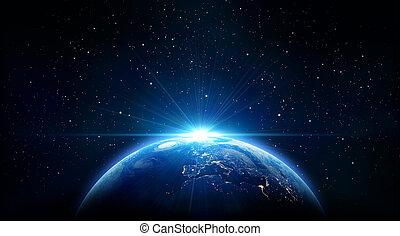 földdel feltölt, napkelte, kék, kilátás, önjáró