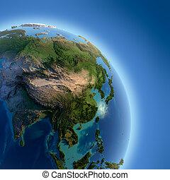 földdel feltölt, noha, magas, megkönnyebbülés, megvilágít,...
