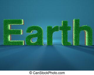 földdel feltölt, spelled, által, irodalomtudomány, elkészített, közül, friss, zöld fű, képben látható, kék, háttér., fogalom, közül, environment.