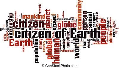 földdel feltölt, szó, felhő, polgár