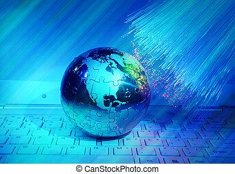 földdel feltölt, technológia, mód, ellen, rost optic, háttér