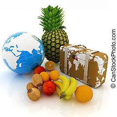 földdel feltölt, traveler's, bőrönd, citrom- és narancsfélék