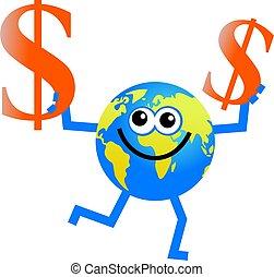 földgolyó, dollár
