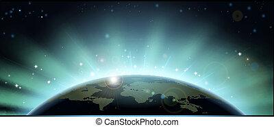 földgolyó, elsötétít, háttér, világ