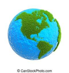 földgolyó, elszigetelt, white, háttér, noha, zöld fű, közül, a, szárazföld