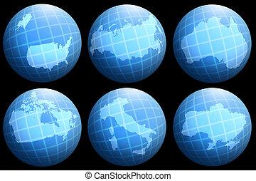 földgolyó, gyűjtés, országok