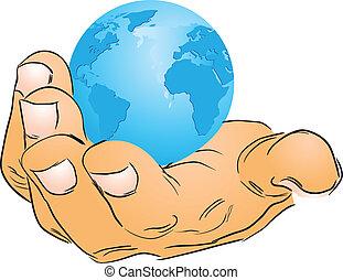 földgolyó, kéz