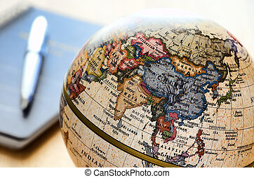 földgolyó, kelet asia, (ballpoint, megír and, notebook).
