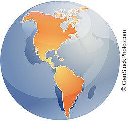 földgolyó, térkép, ábra, az amerikai köztársaságok