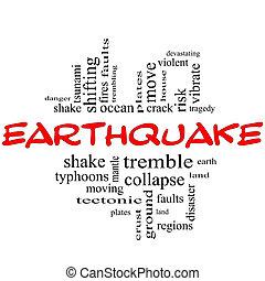 földrengés, szó, felhő, fogalom, alatt, piros, &, fekete
