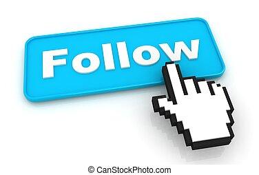 följ mig, knapp, med, hand, format, markör