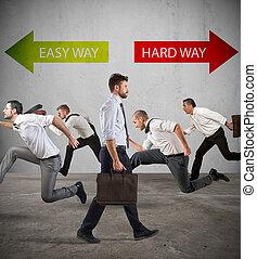 följa efter, hårt, success., väg