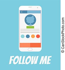 följa efter, me., social, knyter kontakt
