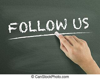 följa efter, oss, ord, hand skriftliga