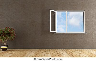 fönster, öppna, rum, tom