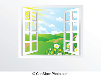 fönster, öppna