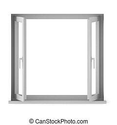 fönster, öppnat, render, 3