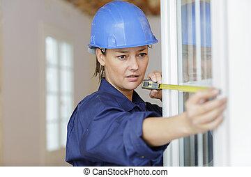 fönster, arbetare, kvinnlig, mått