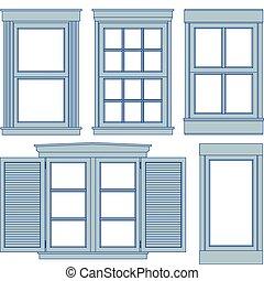 fönster, blåkopior